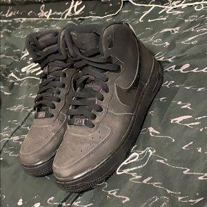 Black, Nike high-top Air Forces
